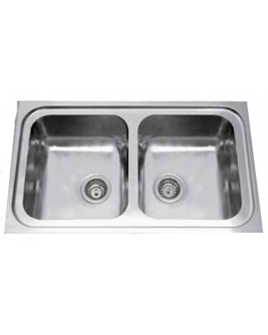 Lavello da cucina in inox DavLux, doppia vasca.