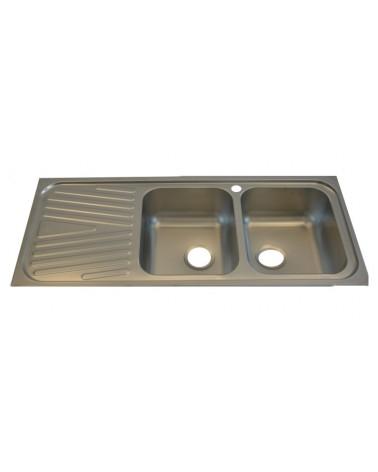 Lavello doppia vasca DavLux. Realizzato in acciaio inossidabile.